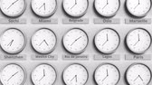 brazílie : Round clock showing Rio de Janeiro, Brazil time within world time zones. 3D animation