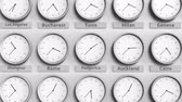 utc : Clock shows Podgorica, Montenegro time among different timezones. 3D animation