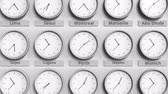 utc : Clock shows Perth, Australia time among different timezones. 3D animation Stock Footage