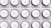 monocromático : Round clock showing Oslo, Norway time within world time zones. 3D animation