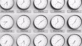 utc : Clock shows Osaka, Japan time among different timezones. 3D animation
