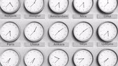 hodin : Clock shows Ankara, Turkey time among different timezones. 3D animation