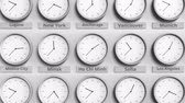 ofset : Round clock showing Ho chi minh, Vietnam time within world time zones. 3D animation