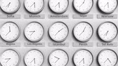monocromático : Round clock showing Istanbul, Turkey time within world time zones. 3D animation Stock Footage