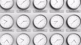 monocromático : Clock shows London, United Kingdom time among different timezones. 3D animation