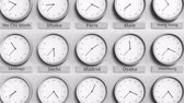 utc : Clock shows Madrid, Spain time among different timezones. 3D animation Stock Footage