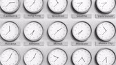 utc : Clock shows Minsk, Belarus time among different timezones. 3D animation