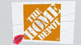 culpa : THE HOME DEPOT company logo being cracked by archery arrow. Corporate problems conceptual editorial animation