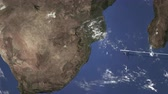 overseas : Commercial airplane flying to Johannesburg, South africa, 3D animation