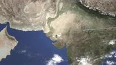 karachi : Route of a commercial plane flying to Karachi, Pakistan on the map, 3D animation