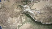 bilhete : Airliner flying to Kabul, Afghanistan from east, 3D animation