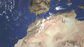 casablanca : Airplane flying to Casablanca, Morocco on the map, 3D animation