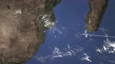 abroad : Commercial airplane flying to Maputo, Mozambique, 3D animation
