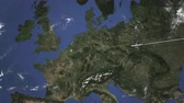 chegar : Airplane flying to Brussels, Belgium on the map, 3D animation Stock Footage