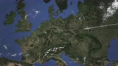 endereço : Airplane flying to Bonn, Germany on the map, 3D animation