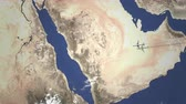 アドレス : Route of a commercial plane flying to Mecca, Saudi arabia on the map, 3D animation 動画素材