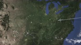 kansas : Route of a commercial plane flying to Kansas city, United States on the map, 3D animation