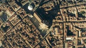 Aerial top down view of famous Florence Cathedral or Cattedrale di Santa Maria del Fiore, main city landmark. Italy