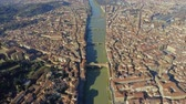 Aerial view of famous Ponte Vecchio bridge within Florence cityscape, Italy