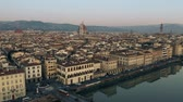 Aerial view of beautiful cityscape of Florence centre in the evening, Italy Vidéos Libres De Droits