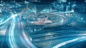 rampa : Long exposure night time lapse of busy city road interchange traffic Stok Video