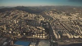 Aerial view of cityscape of Genoa in the evening, Italy
