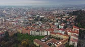 view from above : Aerial view of Bergamo cityscape, Italy