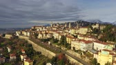 Aerial shot of old fortified Upper City of Bergamo, Italy