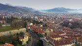 lombardia : Aerial view of Bergamo cityscape and surrounding mountains, Italy