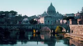 vaticano : Iconic view from the Tiber on Ponte SantAngelo bridge and the St. Peters Basilica in Vatican, time lapse