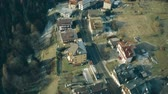 венето : Aerial view of cars driving through Valle di Cadore town in mountains, nothern Italy