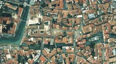 Aerial top down view of city of Treviso, Italy 무비클립