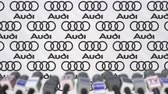 coverage : Media event of AUDI, press wall with logo and microphones, editorial animation Stock Footage