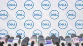 coverage : News conference of DELL, press wall with logo as a background and mics, editorial animation