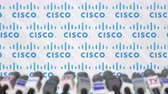 televizyon : Media event of CISCO, press wall with logo and microphones, editorial animation Stok Video