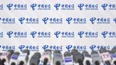 televizyon : Media event of CHINA TELECOM, press wall with logo and microphones, editorial animation Stok Video