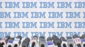 ibm : Media event of IBM, press wall with logo and microphones, editorial animation