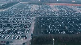 Aerial view of big factory new cars storage 무비클립