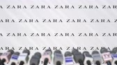 coverage : ZARA company press conference, press wall with logo and mics, conceptual editorial animation