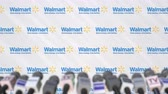 medios de comunicacion masiva : Media event of WALMART, press wall with logo and microphones, editorial animation