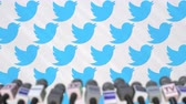 coverage : TWITTER company press conference, press wall with logo and mics, conceptual editorial animation