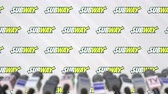 anúncio : Press conference of SUBWAY, press wall with logo and microphones, conceptual editorial animation Stock Footage