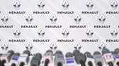 renault : Press conference of RENAULT, press wall with logo and microphones, conceptual editorial animation