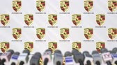 mass media : Media event of PORSCHE, press wall with logo and microphones, editorial animation