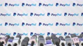 mass media : Press conference of PAYPAL, press wall with logo and microphones, conceptual editorial animation