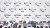 mass media : Media event of NISSAN, press wall with logo and microphones, editorial animation