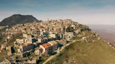 wohnhaus : Aerial shot of small picturesque town of SantOreste on the mountain. Lazio, Italy Stock Footage