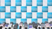 coverage : AMERICAN EXPRESS company press conference, press wall with logo and mics, conceptual editorial animation Stock Footage