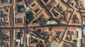 sloping : Aerial top down view of streets and tiled houses in Alessandria. Piedmont, Italy