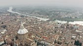 lombardia : Aerial view of Pavia cityscape involving Cathedral and Ponte Coperto or Coperto Bridge across Ticino River. Lombardy, Italy Vídeos